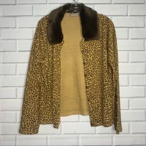 leopard cardigan with removable faux fur collar